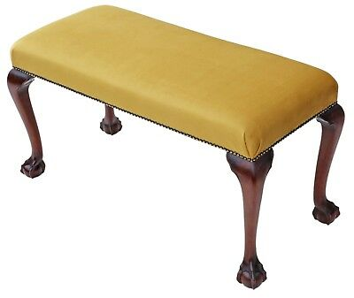 Antique Georgian revival C1900 carved mahogany upholstered stool