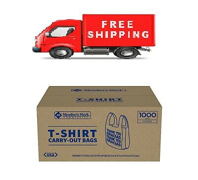 New 1000 T-Shirt Carry Out Retail Plastic Bags Recyclable Grocery Shop Choice