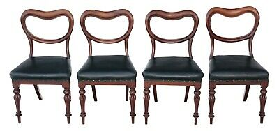 Antique quality set of 4 Victorian mahogany balloon back dining chairs C1835-50