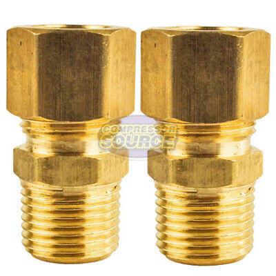 """2 Pack 1/2"""" x 3/8"""" Male NPT Connector Brass Compression Fitting for 1/2"""" OD Tube"""