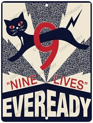 """EVEREADY Battery 9 Volt Lives 12"""" x 9"""" New Reproduction Aluminum Sign"""