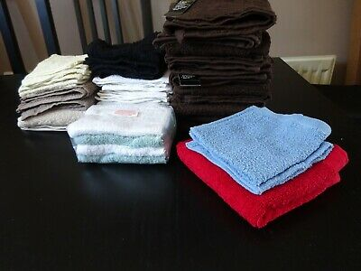 **42 x ASSORTED FACE CLOTHS**BROWN, BEIGE, CREAM, RED, WHITE, BLACK, GREEN, BLUE