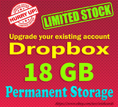 Dropbox service - Upgrade To 18GB LifeTime Storage - Referral space