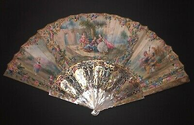 Great Antique 18Th French Louis Xv Carved Mother Of Pearl Hand Painted Scene Fan