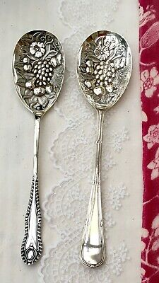 ANTIQUE BERRY SPOON x2 - ART NOUVEAU ERA - SILVER PLATE EPNS J BATT SHEFFIELD