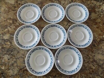 8 Corelle Old Town Blue Onion Saucers Only for Coffee Tea Cups Mugs Free Ship