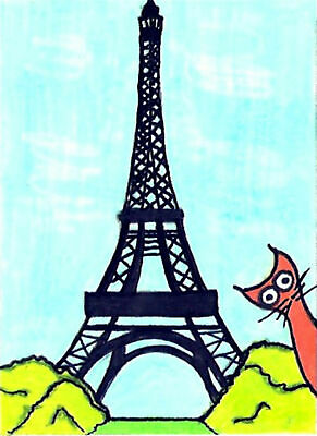 """ACEO 2.5/"""" x 3.5/"""" By Pierre Molangi Artist Signed Print Window Kitty Cat"""