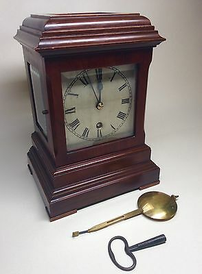 Good Late Victorian Mahogany Four Glass Library Clock/ Bracket Clock J J Elliot