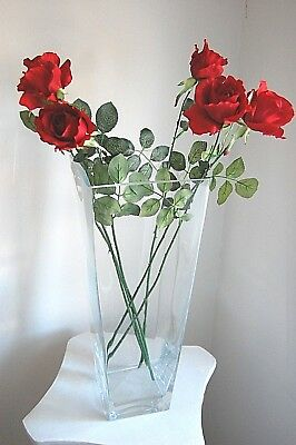 """6 Magnificent Silk Red Roses with 27"""" Thorn Stems  - JaNice Interiors Botanicals"""