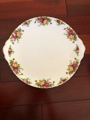 Royal Albert Old Country Roses England Round Handled Serving Cake Plate Old Mark