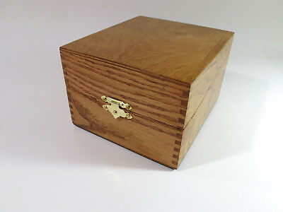 Restored Antique Fingerjoined Oak Desk-Top Card/Document Filing Storage Box.