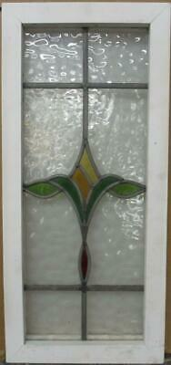 "MIDSIZE OLD ENGLISH LEADED STAINED GLASS WINDOW Stunning Abstract 12"" x 26.25"""