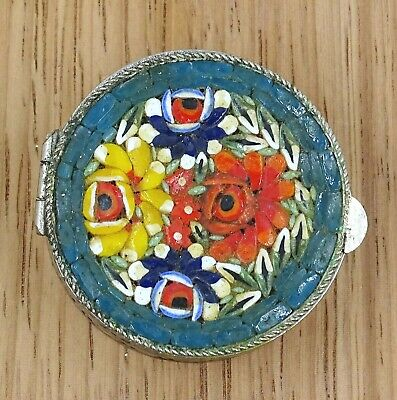 Vintage Sterling Silver Micro Mosaic Pill/Trinket Box Made in Italy