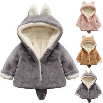 Toddler Kids Baby Girl Winter Warm Coat Faux Fur Hooded Outerwear Jacket Clothes