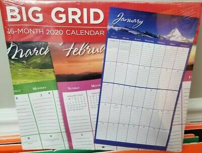 """2020 Wall Calendar- BIG GRID -Colorful 16 Month-12x22 """" PaperCraft-Sealed"""