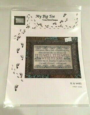 My Big Toe Designs Counted Cross Stitch Pattern Chart  It Is Well #Mbt-136 New