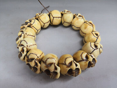Worthy collection Old bone carving beads and skull series into rosary bracelet