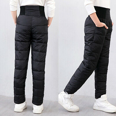 Winter Kids Child boys Girls Warm thick Pants Stretch Cotton Down Trousers 2-7Y