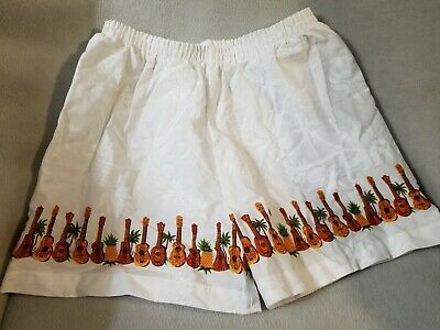 Authentic Hawaiian Stretch Youth Girls Size 8 White Ukelele Pineapple SHORTS