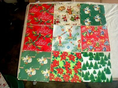 "Assorted Vintage Christmas Wrapping Paper, 12 Sheets, 30"" X 20"""