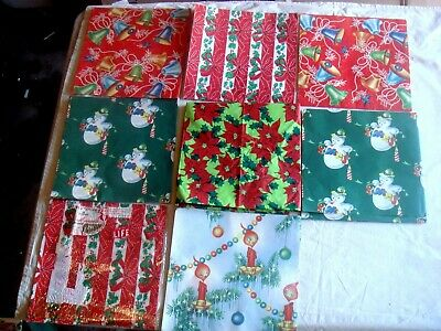 "Assorted Vintage Christmas Wrapping Paper, 9 Sheets, 30"" X 20"""