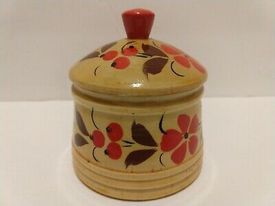 Vintage Wooden Hand Painted Trinket Box Round Floral Tan Orange Boho