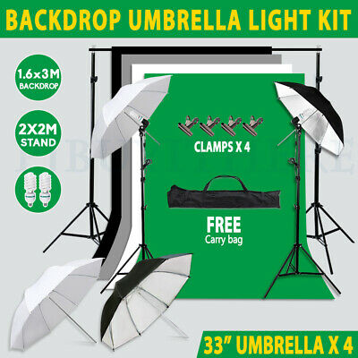 Photography Umbrella Lighting Black White Green Gray Backdrops Support Stand Kit