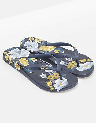 Joules Womens Flip Flops in NAVY BOTANICAL