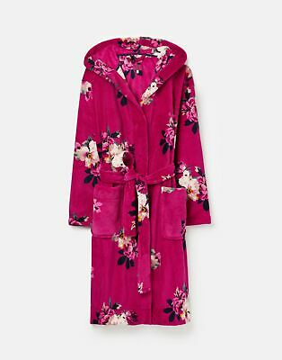 Joules 207375 Fluffy Dressing Gown in FUCHSIA BIRCHAM BLOOM