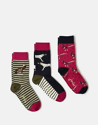 Joules 208245 Bamboo Socks 3 Pk in FESTIVEDOG Size Adult 4in8