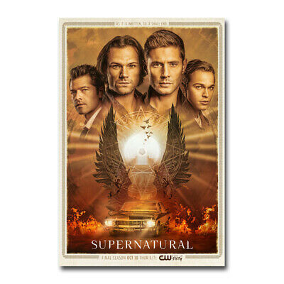 Supernatural Season 15 TV Series Poster Silk Canvas Poster Print 12x18 16x24''