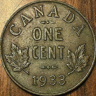 1933 CANADA SMALL CENT PENNY SMALL 1 CENT COIN - Excellent example!