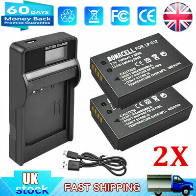2x 1100mAh LP-E12 Battery + LCD USB Dual Charger for Canon EOS M M2 M10 100D SL1