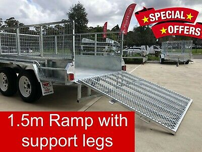 12x6 Tandem trailer galvanised 1.5m Ramp with Support Legs 2000kg ATM 600mm Cage
