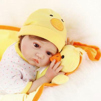 """22"""" Reborn Baby Doll Girl Lifelike Silicone Vinyl Duck Yellow Outfit Realistic"""