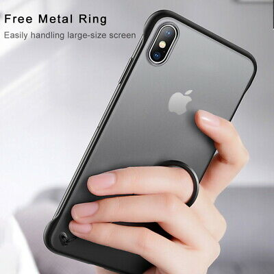 For iPhone 11 Pro Max Ultra Thin Frameless Case Transparent Matte Cover No Frame