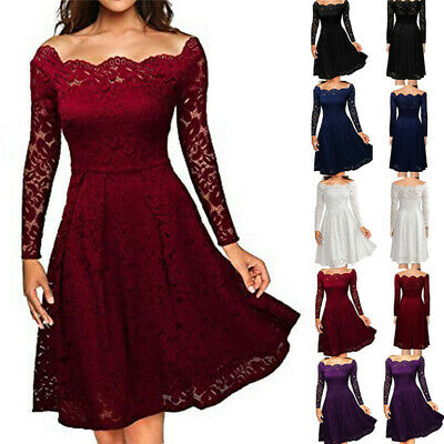 Womens Ladies Vintage Lace Swing Skater Party Evening Dress Cocktail Bridesmaids