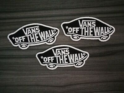 3 pcs Black VANS Of The Wall Patch Embroidered Iron or Sew on Jean bag hat shirt