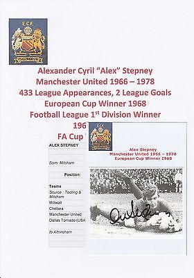 Alex Stepney Manchester United 1966-1978 Original Autographed Annual Picture