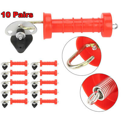 10x Electric Fence Gate Handle & 10x Insulators Kit Heavy Duty Pack Spring