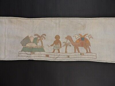 Antique Egyptian Revival Hand Embroidered Linen Runner W Designs