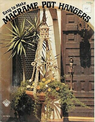 Vintage 1974 easy to make macrame pot hangers instruction book retro patterns