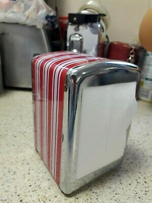 Retro Diner Style Metal Napkin Holder, Chrome With Red & White Stripe