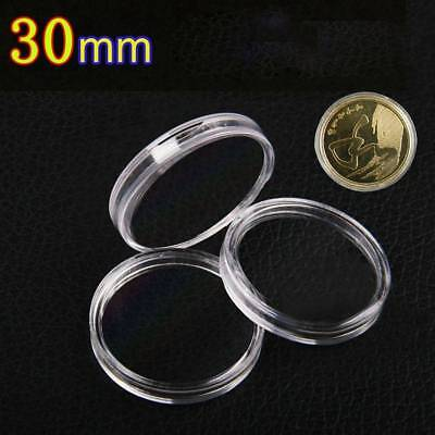 10Pcs 50mm Clear Round Cases Coin Storage Capsules Holder Round Plastic Case  JB