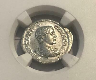 ROMAN EMPIRE Geta AD 209-211 AR Denarius as Caesar NGC XF Coin