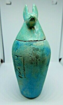 Vintage Egyptian Blue Glazed Canopic Jar - Blue Jackal