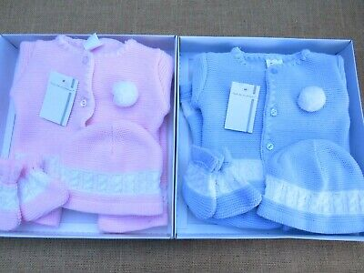 Baby Boys Girls Spanish Romany Knitted Pom Pom Set Layette Outfit Newborn