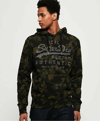 New Mens Superdry Vintage Logo Authentic Camo Hoodie Dark Olive Grit