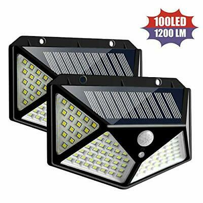 100 LED Solar Luz de Pared Impermeable Sensor de Movimiento Lámpara Exterior ES