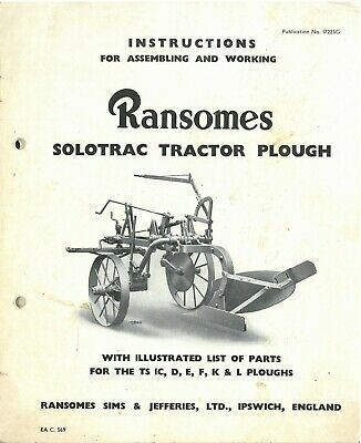 Ransomes Solotrac Tractor Plough Operators Manual with Parts List - ORIGINAL